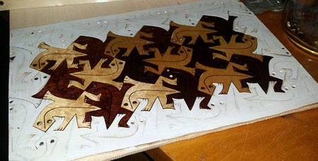tessellation - Escher lizards laser cut