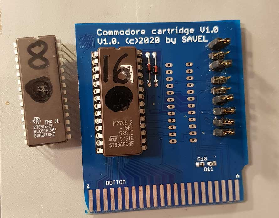 Commodore 64 cartridge PCB and schematic