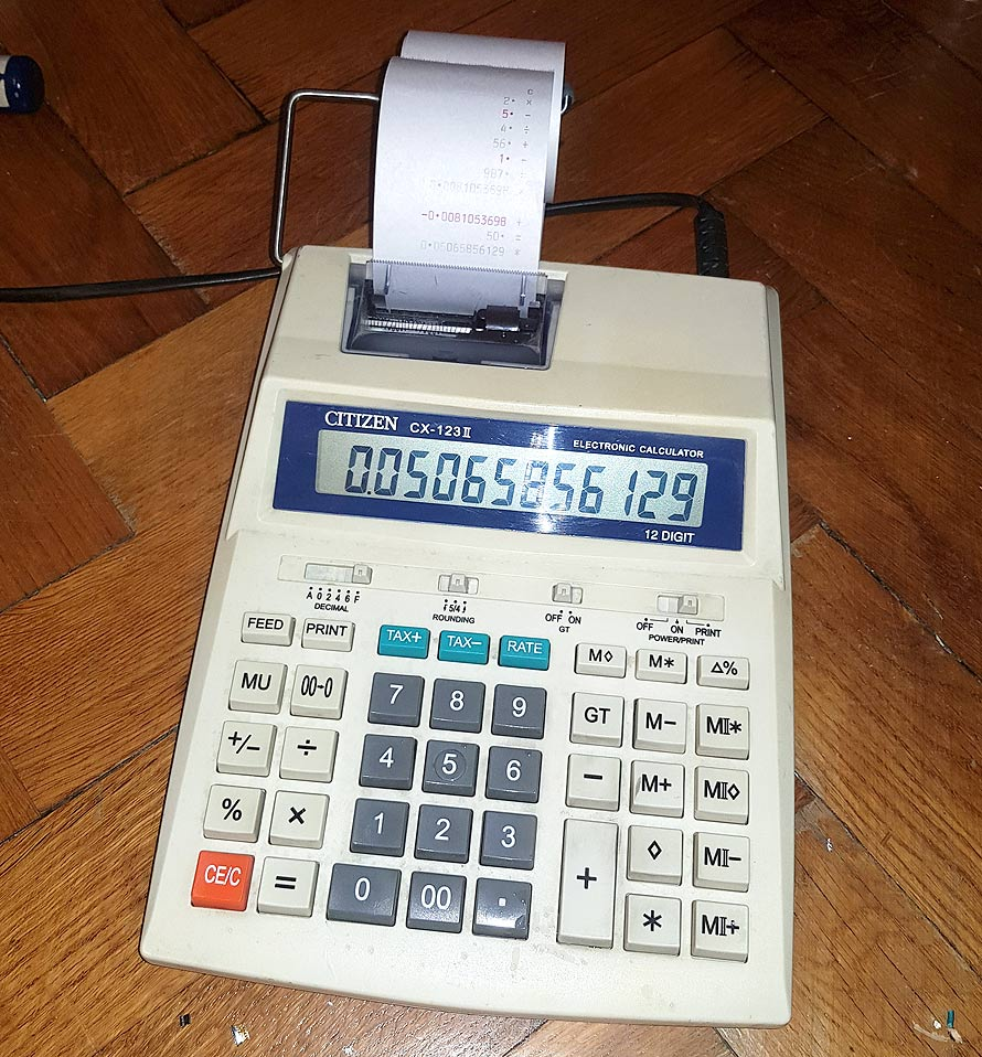 citizen cx-123ii printing calculator hack