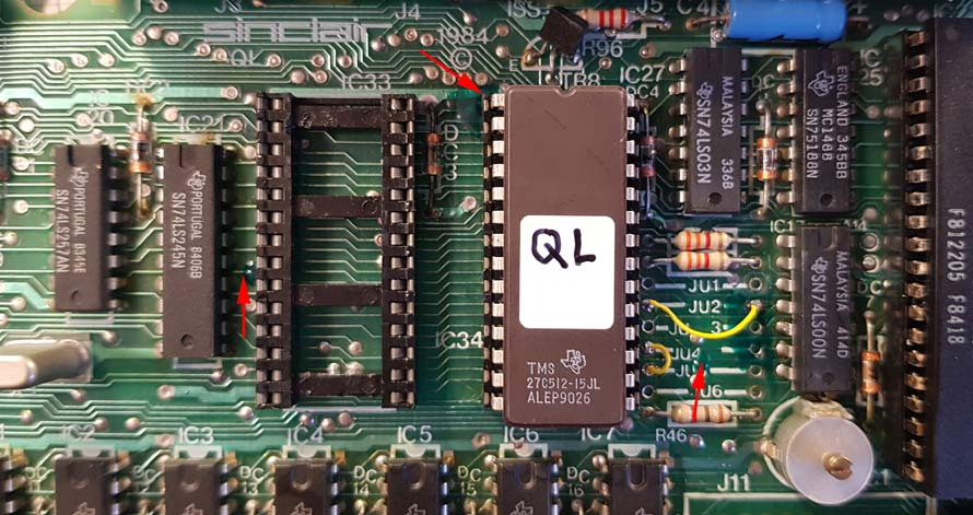 Sinclair QL iss5 PCB modification for 27C512 EPROM